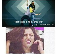 Hahaha! El loves her starbucks.(: