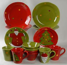 christmas dishes   Vietri (Italy) Pallini Holiday 16-Piece Dinnerware Set at Replacements ...