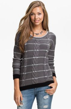 Love by Design Metallic Stripe Cable Sweater available at #Nordstrom