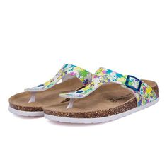 610622a2479ac9 Cork Flip Flops Casual Beach Mixed Color Sandals Flat