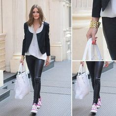 Why It Works: Olivia Palermo's Leather Pants And Pink Sneakers