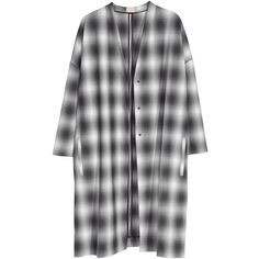 H&M Coat (74 CAD) ❤ liked on Polyvore featuring outerwear, coats, jackets, dresses, checked coat, h&m coats and checkered coat