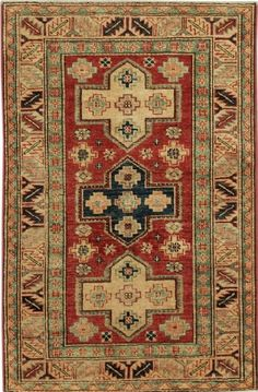 HANDMADE RECTANGULAR CAUCASIAN KAZAK AREA RUG IN RED WITH BEIGE ACCENTS, 2X4  Handmade and knotted rectangular area rug with Caucasian Kazak designs in red with beige accents, 2x4. Imported from Pakistan with wool. Free Shipping within the US.