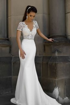 Satin Wedding Dresses Short Sleeve Lace V Back Mermaid Wedding Dress,Sexy Party Prom Dresses new style fashion evening gowns for teens girls 2016 Wedding Dresses, Prom Party Dresses, Wedding Attire, Sexy Dresses, Bridal Dresses, Beautiful Dresses, Wedding Gowns, Bridesmaid Dresses, Long Dresses