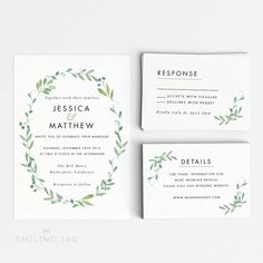 Digital Printable Modern Botanical Wedding Invitation Set - Printable Wedding…