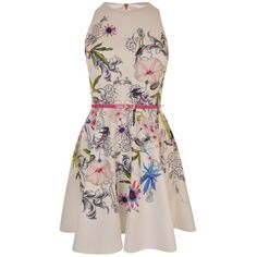 TED BAKER Samm Passion Flower Skater Dress ($195) ❤ liked on Polyvore featuring dresses, sleeveless skater dress, circle skirts, flower dress, floral skater dress and skater skirt dress