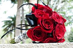 Wedding Bouquet red roses black ribbon
