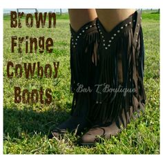 Brown Fringe Cowboy Boots ~ Follow @bar_t_boutique on Instagram to Shop Weekly New Arrivals