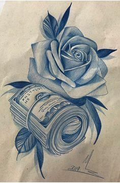 Chicanas Tattoo, Money Tattoo, Dark Art Tattoo, Tattoo Flash Art, Rose Drawing Tattoo, Tattoo Design Drawings, Tattoo Sketches, Chicano Art Tattoos, Body Art Tattoos