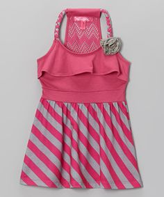 Another great find on #zulily! Fab Fuchsia Stripe Y-Back Dress - Toddler & Girls by Cherry Stix #zulilyfinds
