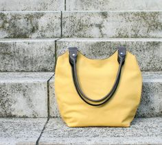 Yellow gray leather bag handbag shoulder bag by BogaBag on Etsy