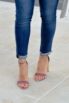 Pink Velvet & Gold Steve Madden Heels - My Style Vita @mystylevita