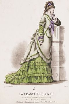 Zone-Front Day Dress (La Dress Élégante, 1877) Visit http://yesterdaysthimble.com/ for more information on the depicted clothing here, or other blog entries concerning Victorian fashion plates, costumes etc