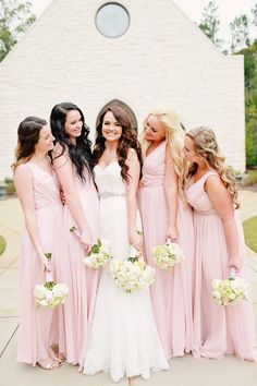 Long chiffon blush pink bridesmaid dresses are perfect for spring and summer weddings! | Kennedy Blue | Brandi Sisson Photography