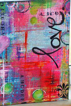 "mixed media art canvas and journals ""LOVE I"" - Pink Soul Studios...SOLD"