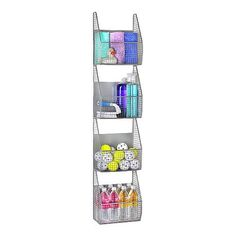 Storage Rack Vertical Basket Holder Wall Mount Bathroom Garage Organizer Bin New