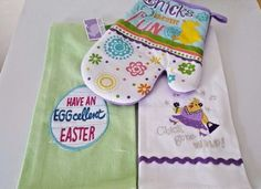 Chicks Eggs 3 pc Kitchen Set Towels Oven Mitt Easter