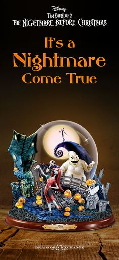 """Bring the eerie delight of Disney Tim Burton's The Nightmare Before Christmas home! This magically macabre snowglobe features all of your favorite characters, including Jack, Sally and Oogie Boogie, amidst swirling glitter and bats. Lights up and plays """"This Is Halloween."""""""