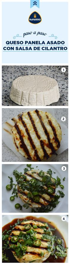 ¡La botana perfecta para tus reuniones! Queso Panela NAVARRO asado con salsa de cilantro. Lo mejor de esta receta es que está lista en 15 minutos. Los ingredientes que necesitas son 1 Queso Panela NAVARRO, 2 cucharadas de jugo de naranja, 2 cucharadas jugo de limón, 2 cucharadas de salsa de soya, 2 cucharadas de cilantro picado, 1 chile serrano en rodajitas. ¡Buen provecho! Veggie Recipes, Mexican Food Recipes, Appetizer Recipes, Appetizers, Healthy Recepies, Healthy Snacks, Healthy Cooking, Cooking Recipes, Baguette