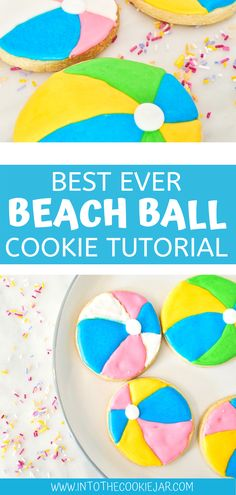 These super fun summer cookies are easy to make and to decorate with royal icing, so don't miss this beach ball cookie tutorial to make sure that you're making these delicious beach ball sugar cookies the best they can be. Colorful Cookies Recipe, Sugar Cookies Recipe, Cookie Recipes For Kids, Best Cookie Recipes, Royal Icing Decorations, Cookie Tutorials, Summer Cookies, Beach Ball, Royal Icing Cookies