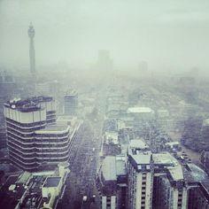 Horizontal snow across London!