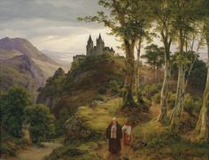 Carl Friedrich Lessing (1808-1880), Paysage Romantique avec Monastère.