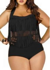 Black Plus Size High Waist Fringed Two Piece Swimwear | modlily.com