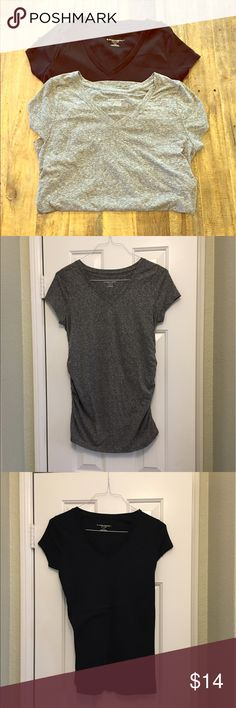 Set of maternity T shirts. Two maternity V-neck T shirts from Liz Lang. Heather gray and black. Both size medium. Excellent condition. Liz Lange for Target Tops Tees - Short Sleeve