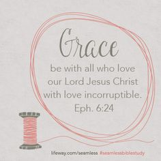 """""""Grace be with all who love our Lord Jesus Christ with love incorruptible."""" Eph. 6:24 #SeamlessBibleStudy"""