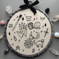 "earleybirdstuff: "" Wicca/Pagan witchcraft Icons Embroidery "" tattoos witchcraft all manner of witchery Embroidery Designs, Embroidery Hoop Art, Hand Embroidery Patterns, Cross Stitch Embroidery, Cross Stitch Patterns, Tumblr Embroidery, Mode Blog, Cross Stitching, Needlework"