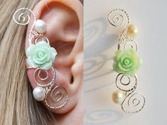 Shop put favorites, we often have discounts and promotions! Pls, keep an eye on the store - https://www.etsy.com/ru/shop/EarringsEarcuffs I make a gift with every order :) Who among us is indifferent to roses? There is hardly a girl who never wanted to receive a bouquet of roses as a gift. Roses have long served the emblem of spring, beauty and youth, as well as love and passion. In Greek mythology, the rose symbolizes Aphrodite - the goddess of love. Green roses have their own, s...
