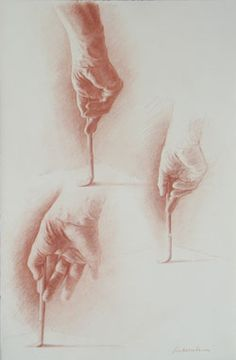 """Ephraim Rubenstein """"The Artists' Hand Drawing"""" 2010. Red chalk on paper, 20 x 12 in."""