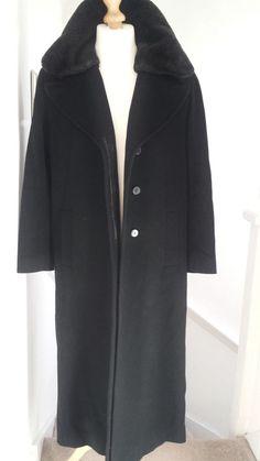 Windsmoor Cashmere Wool OverCoat Womens Ladies Black Coat 12 - 14 Mink Collar