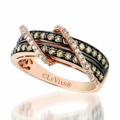 Le Vian 0.87 Carat Chocolate and Vanilla Diamond Double Row Diamond Ring Set in a 14K Strawberry Gold. Tag#YQEN 12. Style YQEN12