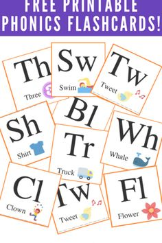 Grab these free phonics printable flashcard to cut out use for your beginning reader. Jolly Phonics, Teaching Phonics, Phonics Flashcards, Phonics Blends, Sound Words, Consonant Blends, Compound Words, Good Readers, Word Sorts