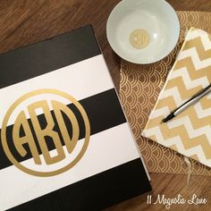 New giveaway--three gold circle monograms in varying sizes!