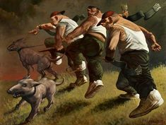Title: Patriots Dimensions: 206 x cm Medium: Oil on Canvas Date: 1991 Location: GMRC Glasgow. In this painting the dogs look very angry and vicious because of the different colours which make the whole picture look dark and mysterious. Date, Peter Howson, Glasgow Museum, Look Dark, Gallery Of Modern Art, Funky Art, Famous Art, Art Uk, Art For Art Sake
