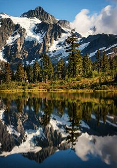 Mount Shuksan, as seen from Picture Lake in Mt. Baker-Snoqualmie National Forest in Washington