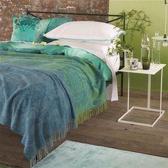Kashgar Jade Throw and Bed Linen   Designers Guild