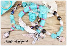 COWGIRL GYPSY BRACELET SET Chunky Turquoise Black Crystal & Agate Charm Bracelet Set  COWGIRLS UNTAMED ~ Fashion For Your Cowgirl gypsy Rebel Soul www.cowgirlsuntamed.com