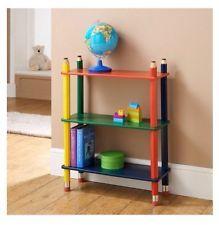 Kids Pencil Multicoloured Book Shelf Solid Wood CD DVD Children Game Storage