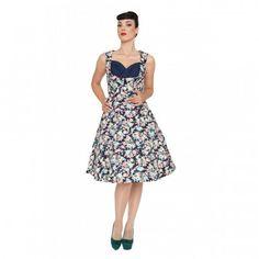 Ophelia Dark Blue Floral Dress | Vintage Inspired Fashion - Lindy Bop