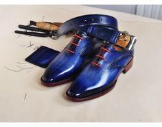 TucciPolo Handmade Mens Elegant Style Goodyear Welted Italian Navy Calfskin Luxury Oxford Shoe