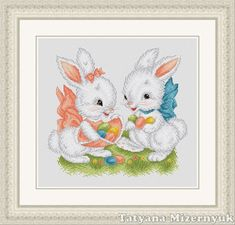 Cross stitch pattern Easter bunnies by TatyanamStitch on Etsy