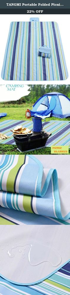 "TANGMI Portable Folded Picnic Mat Beach Blanket 57""x71"" Water Proof Multi-purpose Outdoor Blanket (Blue Strips). PRODUCT WEITHT-920G ITEM SIZE- Fold Out: 57"" x 71"" (145cm x 180cm), Fold Up: 9"" x 12"" (23cm X 32cm) Approx MULTIFUNCTIONAL PICNIC BLANKET- Ideal for all outdoor and indoor activities such as picnics, BBQs, camping, festivals & sporting events. Also extremely useful as a vehicle upholstery protector for your pets PACKAGE INCLUDED-1XPC picnic blanket ."