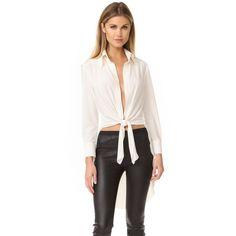 Norma Kamali Kamali Kulture Tie Front Shirt (201 AUD) ❤ liked on Polyvore featuring tops, blouses, ivory, folding shirts, long sleeve collar shirt, cuff shirts, tie front blouse and long-sleeve shirt