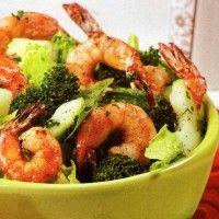 Ensalada Verde con camarones a la plancha. Saludables Recetas de Cocina: www.larecetadecocina.com