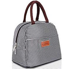 BALORAY Lunch Bag Tote Bag Lunch Organizer Lunch Holder Lunch Container (Brown White Stripes) -- Continue to the product at the image link. (This is an affiliate link) Insulated Lunch Containers, Insulated Lunch Box, Lunch Box Containers, Lunch Tote Bag, Picnic Bag, Picnic Cooler, Tote Bags, Cute Lunch Boxes, Lunch Boxes For Women