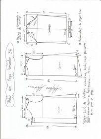 Esquema de modelagem de blusa com prega e manga tamanho 36.