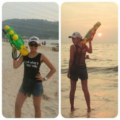 Ripped back tank top in Patong Beach Phuket when songkran festival.